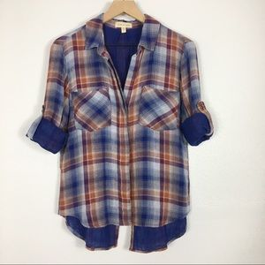 Cloth & Stone Plaid Split Back Button Up Shirt